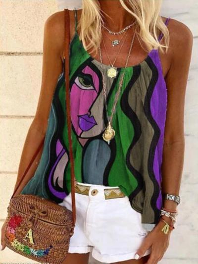U neck women sleeveless fashion clothing printed vests tops