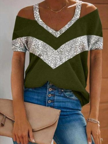 V neck off shoulder women short sleeve shine T-shirts