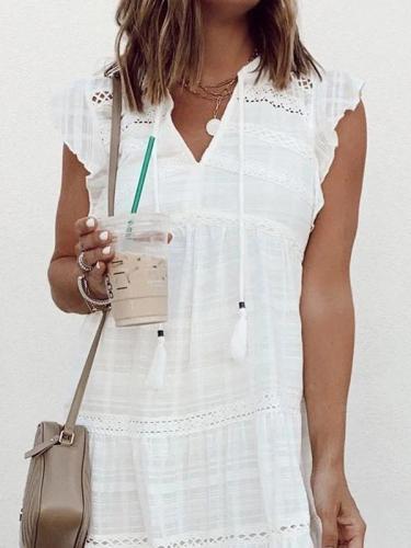 White sweet Fringed V-neck Ruffle Sleeve Skater Dresses