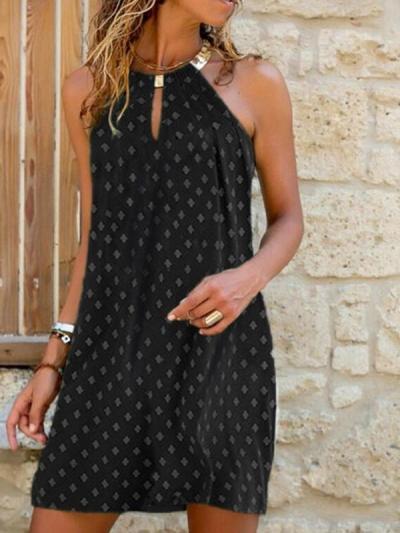 Sleeveless halter women fashion shift dress midi dresses