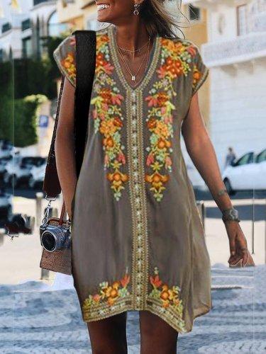 Women Summer  Short Sleeve Embroidered Shift Dresses