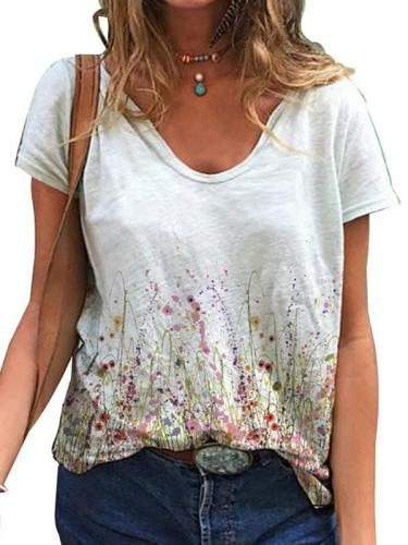 Loose Women V-neck Short Sleeve T-shirts Summer Tops