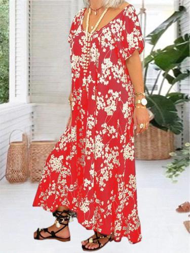 Summer Casual V Neck Dresses Floral printed Midi dress