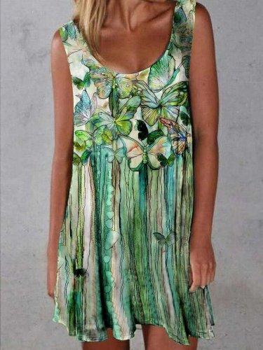 Designer oil painting butterfly print dress