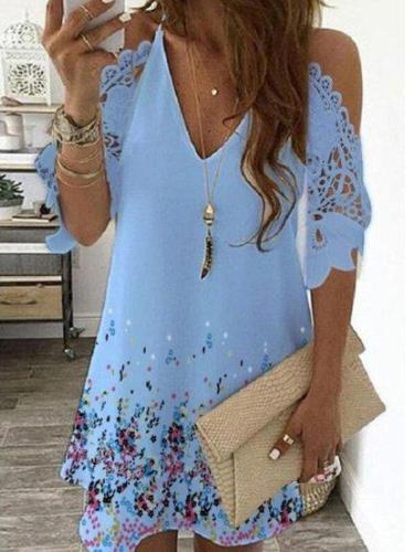 Lace Floral Printed Short Sleeve Casual Cotton Off Shoulder Shift Dresses