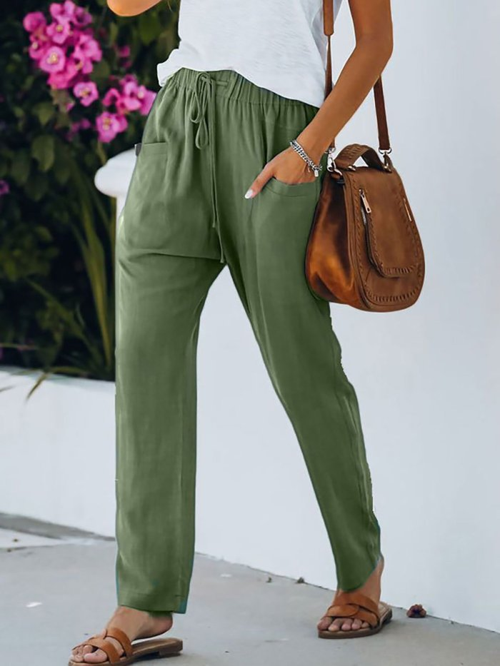 Solid Color Pocket Elastic Waist Casual Pants
