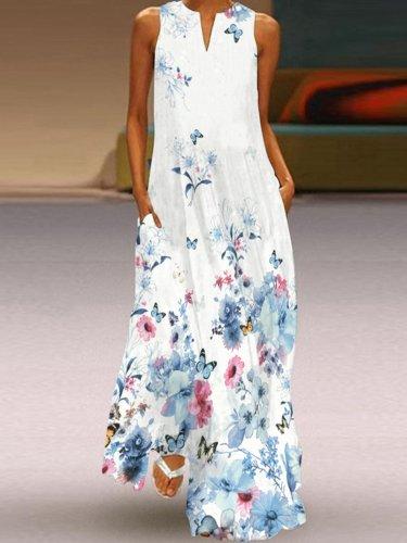 Vintage Floral Printed Statement Plus Size Sleeveless V Neck Casual Dresses