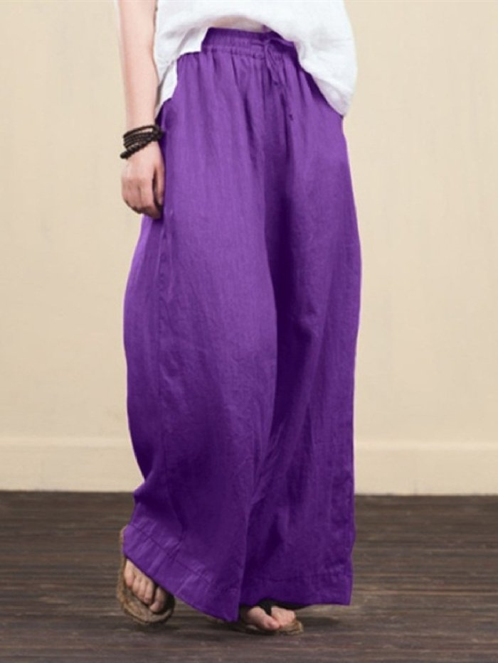 Wide-leg cotton daily trousers loose pants