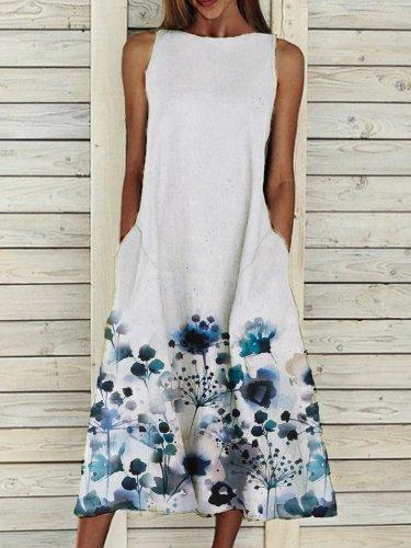 Pockets Elegant Cotton-Blend Floral Dresses