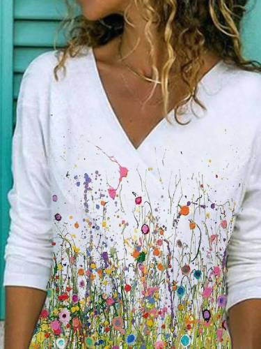 Casual Floral Floral-Print Long Sleeve Shirts & Tops