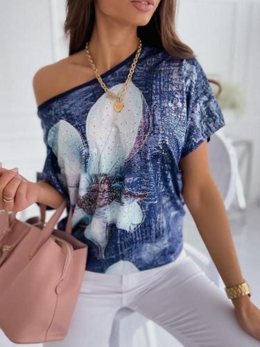Women one off shoulder flower printed T-shirts for summer
