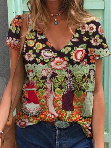 V neck printed woman printed T-shirts