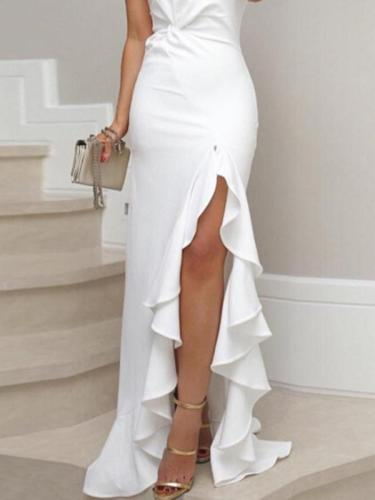 Sexy elegant one off shoulder plain Split fork evening dresses