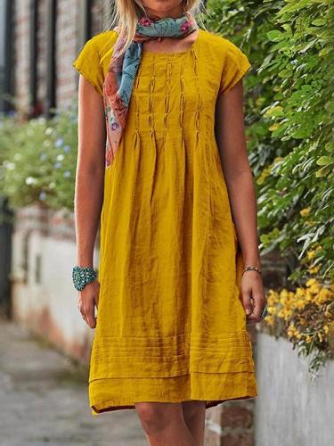 Casual loose women plain short sleeve midi dress shift dresses