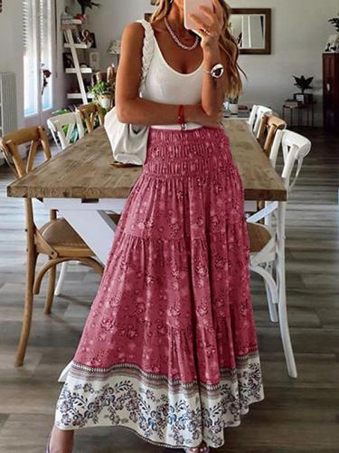 small flower printed long skirts