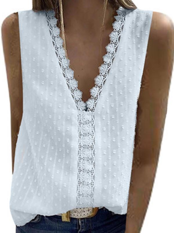 Daily v neck sleeveless lace women shirts vests