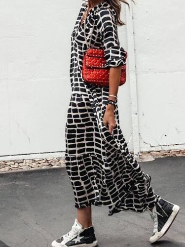 V neck long sleeve lepard printed women long maxi dresses