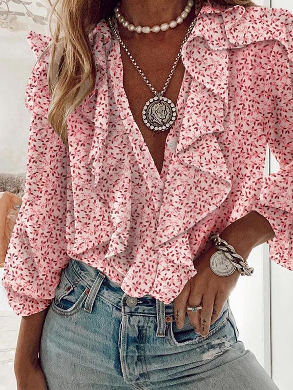 Stylish top v neck printed long sleeve chiffon blouses