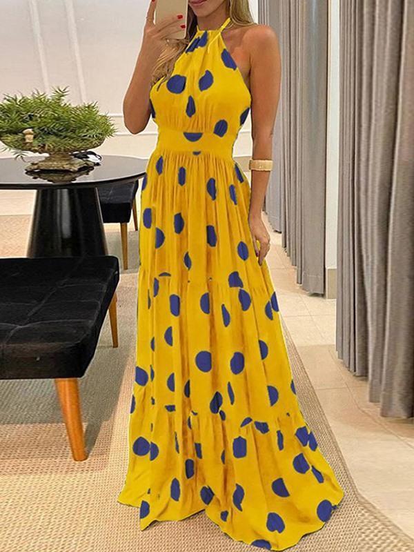Sexy polka dot halter neck big swing vening dress women's dress