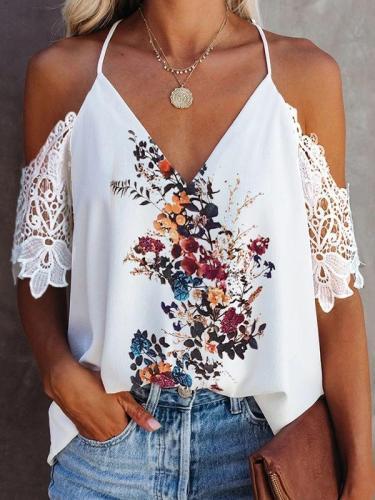 Chic women v neck off shoulder chiffon floral Blouses