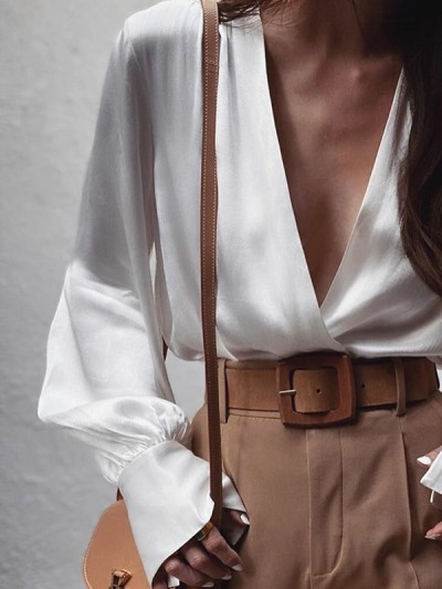 Fashion Sexy V neck Long sleeve Pure Blouses
