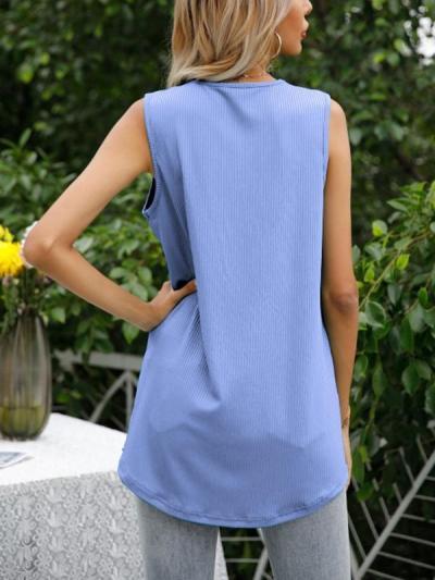 V neck button design women sleeveless chic vests