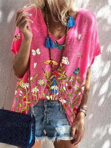 Summer butterfly printed women v neck short sleeve T-shirts