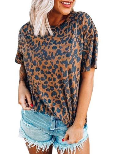 Leopard Print Round Neck Drop Shoulder Short Sleeve T-Shirts