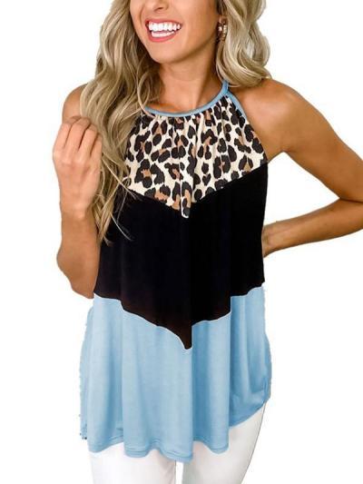 Women sexy leopard printed halter u neck vests