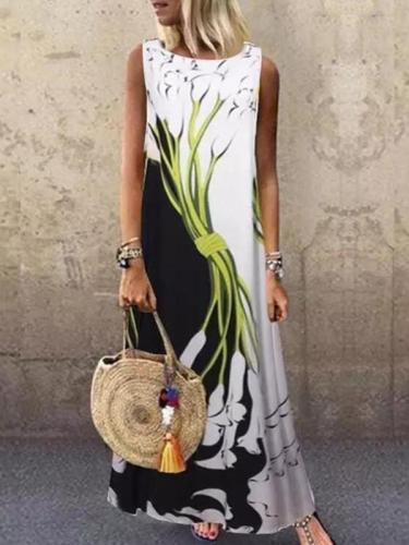 Printed Round neck sleeveless loose print evening dresses