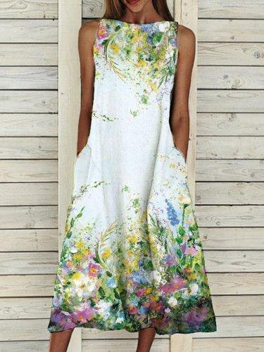 Sleeveless Elegant Crew Neck Floral-Print Dresses