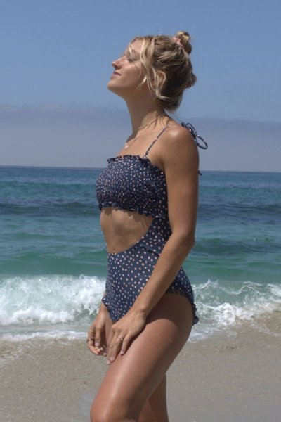 Floral Cut Out One-pice Swimsuit