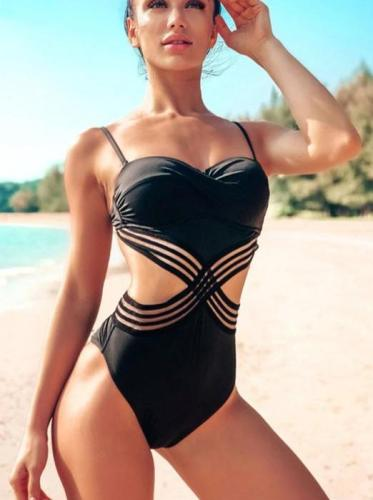 Patchwork Mesh Backless One Piece Swimsuit