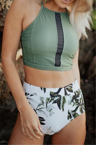 Floral Printed High Waist Tank Bikini Set