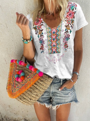 Floral Short Sleeve Cotton Shirts & Tops