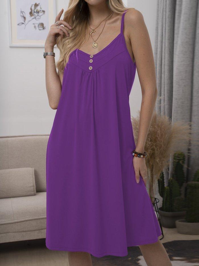Solid Spaghetti-Strap Casual Cotton-Blend Dresses
