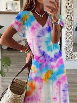 V Neck Short Sleeve Ombre/tie-Dye Dresses