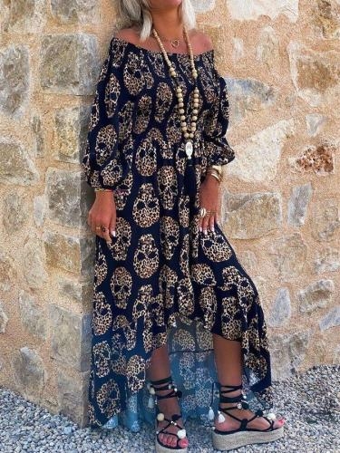 Casual Print Long Sleeve Dresses