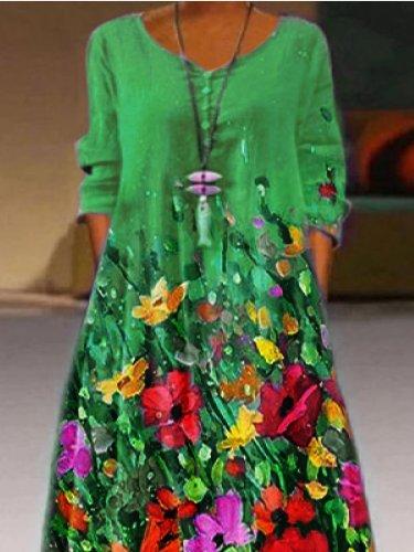 Casual 3/4 Sleeve Printed Floral Dresses