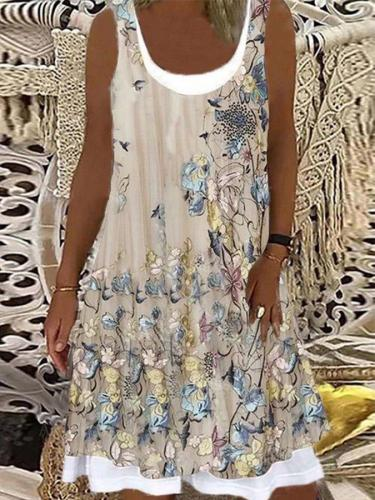 Khaki Sleeveless A-Line Dresses