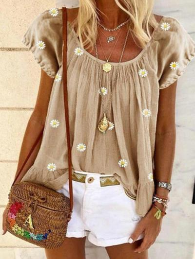 Yellow Crew Neck Short Sleeve Boho Printed Shirts & Tops