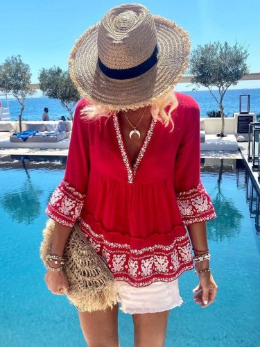 3/4 Sleeve A-Line Cotton Holiday Shirts & Tops