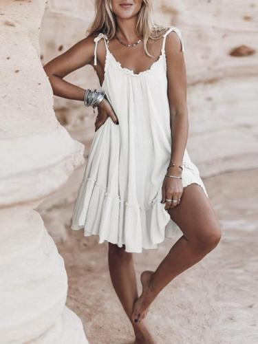 Plain halter sleeveless women midi dress vacation dresses