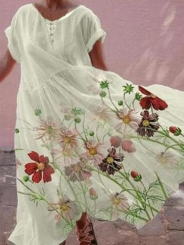 Chic women floral printed mini dress maxi dresses