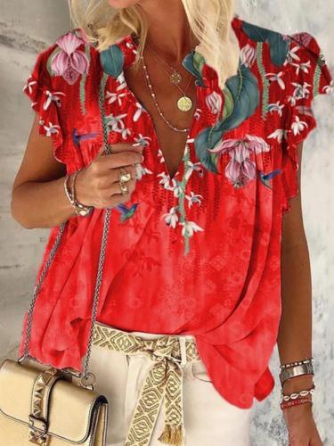 Stylish printed short sleeve women tops blouses