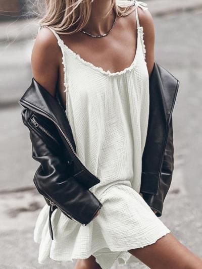Plain halter sleeveless women midi dress vacation dresses