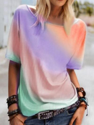 Round neck Colorful women short sleeve T-shirts