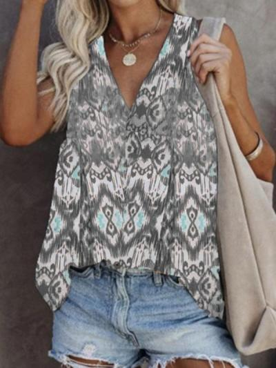 Women's casual sleeveless printed T-shirt plus size vest top