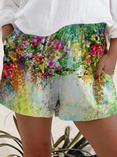 Casual women flower printed short pants fashion shorts