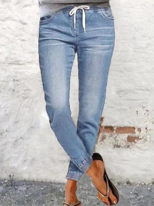 Women casual blue denim long pants